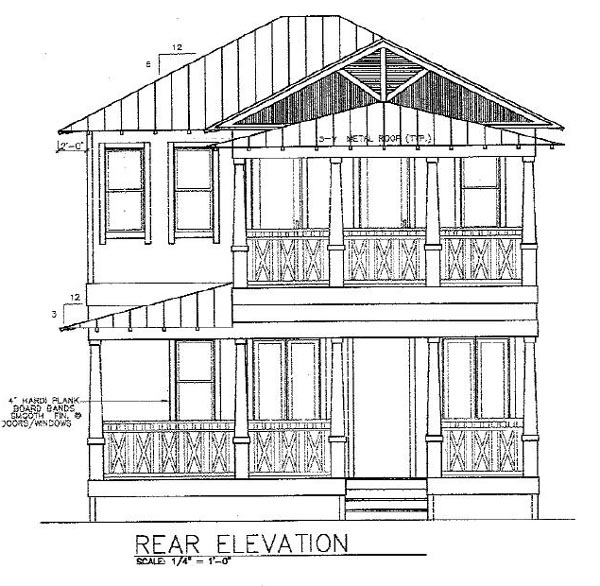 Florida House Plan 58946 with 3 Beds, 4 Baths Rear Elevation