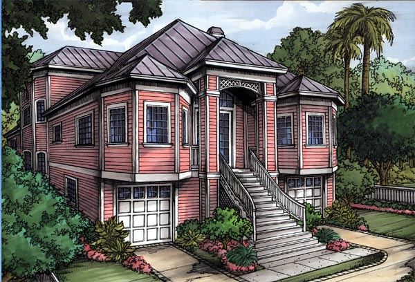 Florida House Plan 58947 with 3 Beds, 2 Baths, 2 Car Garage Elevation