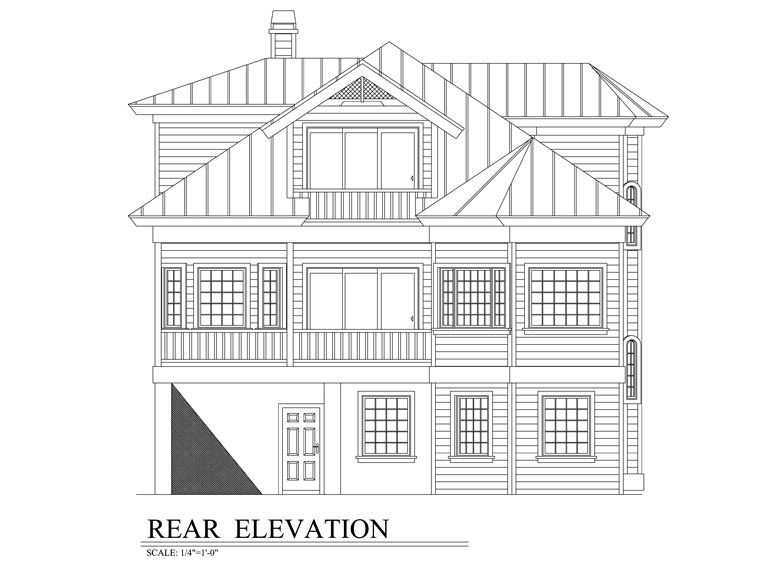 Florida House Plan 58947 with 3 Beds, 2 Baths, 2 Car Garage Rear Elevation