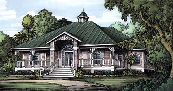 Florida, One-Story House Plan 58948 with 3 Beds, 3 Baths Elevation