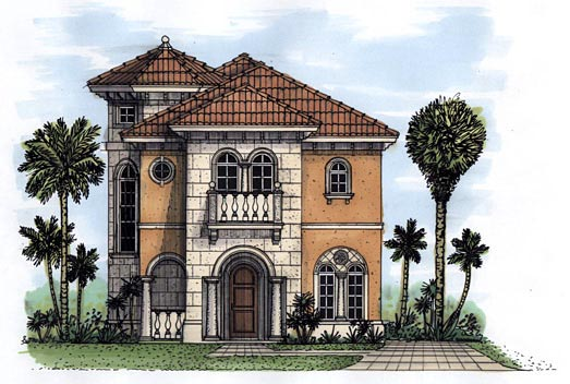 Florida House Plan 58970 with 3 Beds, 4 Baths, 1 Car Garage Elevation