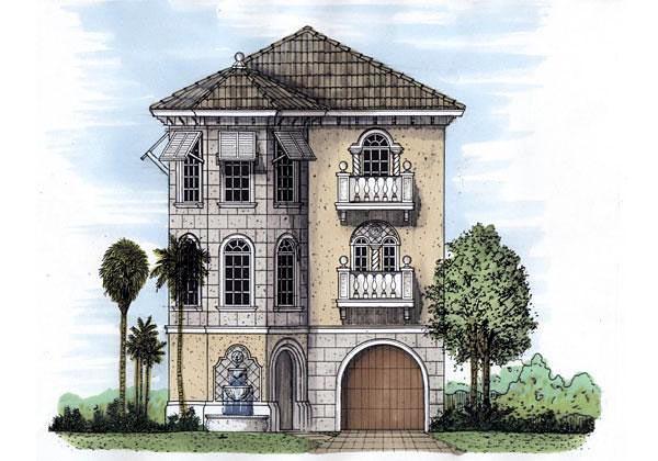 Florida, Narrow Lot House Plan 58972 with 3 Beds, 3 Baths, 1 Car Garage Elevation