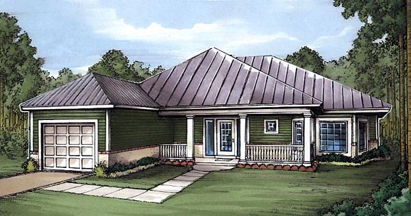 Florida, One-Story House Plan 58979 with 2 Beds, 2 Baths, 1 Car Garage Front Elevation