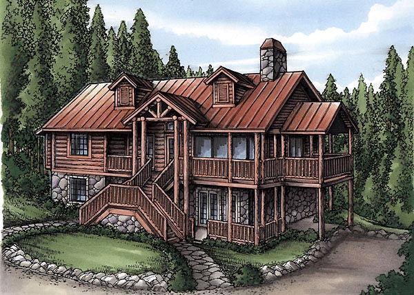 Cabin, Log House Plan 58985 with 4 Beds, 4 Baths Elevation