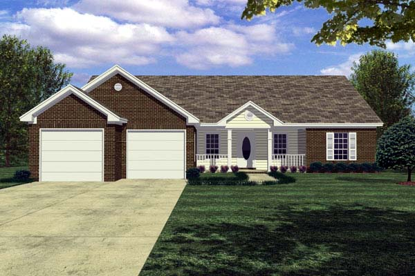 Cottage, Ranch, Traditional House Plan 59003 with 3 Beds, 2 Baths, 2 Car Garage Elevation