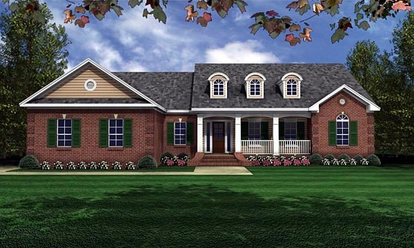 European, Ranch, Traditional House Plan 59011 with 3 Beds, 2 Baths, 2 Car Garage Front Elevation