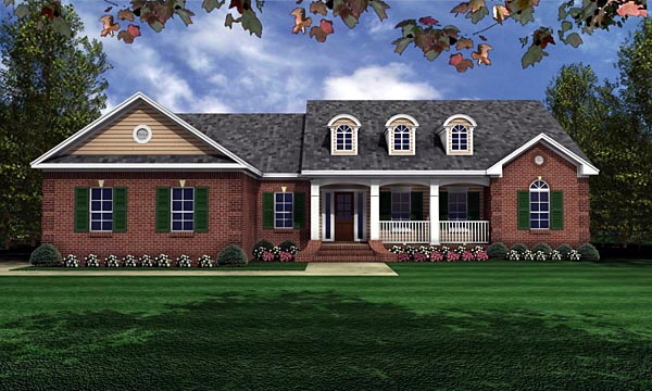 European, Ranch, Traditional Plan with 1751 Sq. Ft., 3 Bedrooms, 2 Bathrooms, 2 Car Garage Elevation