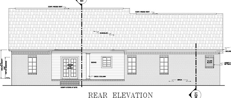 European, Ranch, Traditional Plan with 1751 Sq. Ft., 3 Bedrooms, 2 Bathrooms, 2 Car Garage Rear Elevation