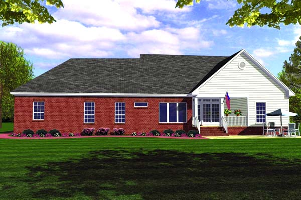 Country, Ranch, Southern, Traditional House Plan 59012 with 3 Beds, 3 Baths, 2 Car Garage Rear Elevation