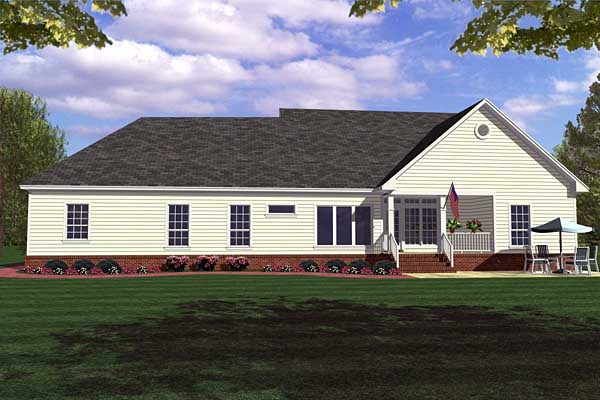 Country, Farmhouse, Ranch House Plan 59013 with 3 Beds, 3 Baths, 2 Car Garage Rear Elevation