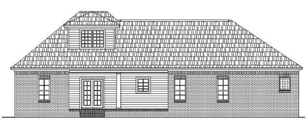European, Ranch, Traditional Plan with 1800 Sq. Ft., 3 Bedrooms, 2 Bathrooms, 2 Car Garage Rear Elevation