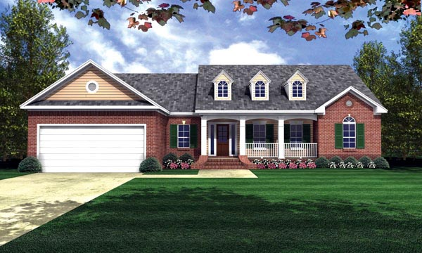 Country, Ranch, Traditional House Plan 59016 with 3 Beds, 2 Baths, 2 Car Garage Front Elevation