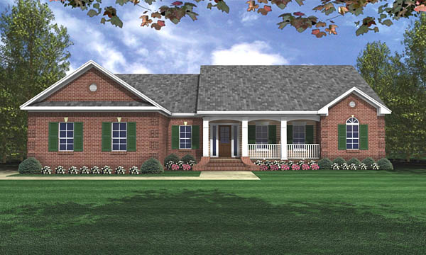 Country, Ranch, Traditional House Plan 59017 with 3 Beds, 2 Baths, 2 Car Garage Front Elevation