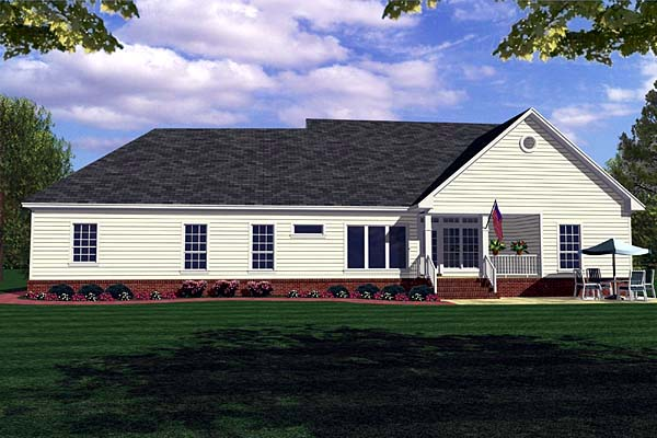 Country, Farmhouse, Ranch, Southern House Plan 59018 with 3 Beds, 3 Baths, 2 Car Garage Rear Elevation