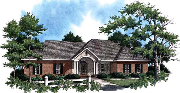 European, Ranch, Traditional House Plan 59020 with 3 Beds, 3 Baths, 2 Car Garage Front Elevation