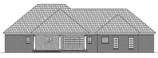 European, Ranch, Traditional House Plan 59020 with 3 Beds, 3 Baths, 2 Car Garage Rear Elevation