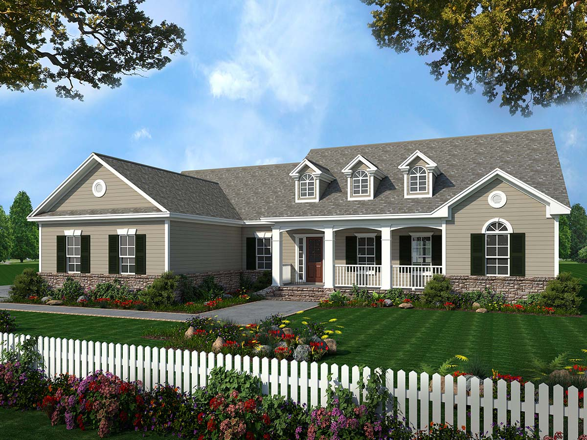 Country, Ranch, Traditional House Plan 59025 with 3 Beds, 3 Baths, 2 Car Garage Elevation