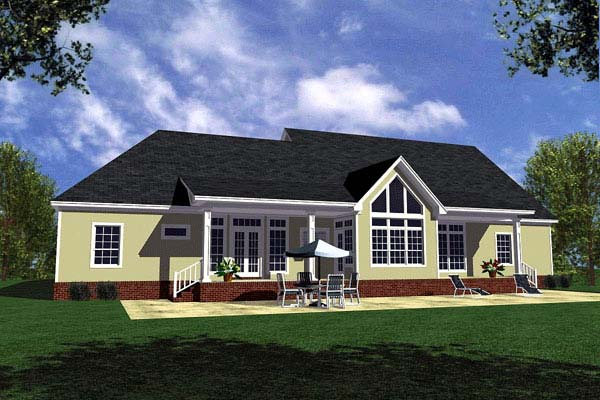 Country, Farmhouse, Ranch, Southern House Plan 59029 with 3 Beds, 3 Baths, 2 Car Garage Rear Elevation