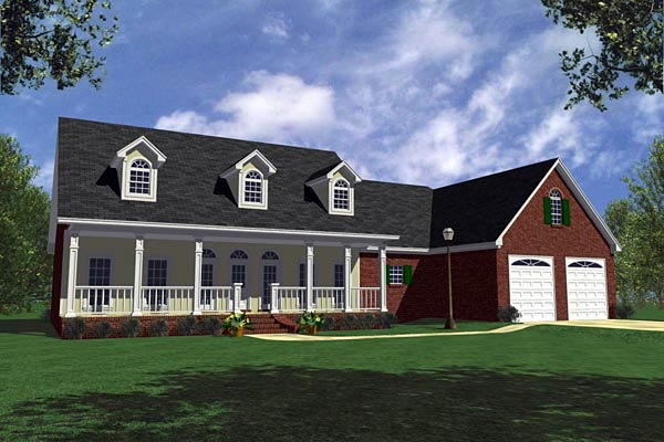 Country, Farmhouse, Ranch, Southern House Plan 59030 with 3 Beds, 3 Baths, 2 Car Garage Elevation