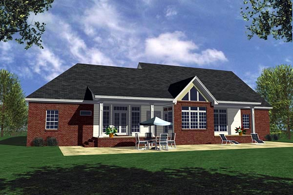 Country, Farmhouse, Ranch, Southern House Plan 59030 with 3 Beds, 3 Baths, 2 Car Garage Rear Elevation