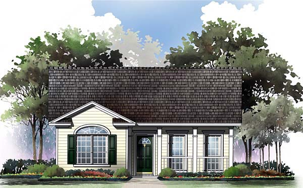 Ranch, Traditional House Plan 59043 with 2 Beds, 2 Baths Front Elevation