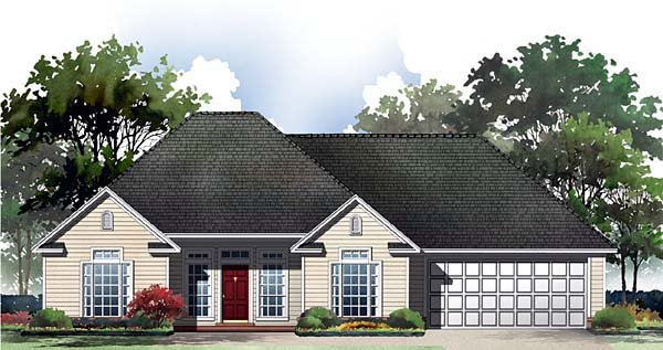 Bungalow, European, Ranch, Traditional House Plan 59047 with 3 Beds, 2 Baths, 2 Car Garage Elevation