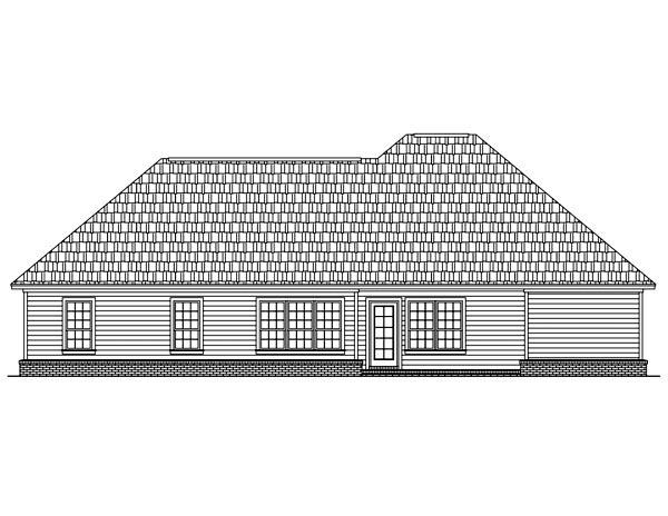 Bungalow, European, Ranch, Traditional House Plan 59047 with 3 Beds, 2 Baths, 2 Car Garage Rear Elevation