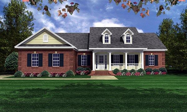 Country, Traditional House Plan 59050 with 3 Beds, 2 Baths, 2 Car Garage Front Elevation