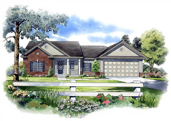 Ranch, Traditional House Plan 59065 with 3 Beds, 2 Baths, 2 Car Garage Elevation