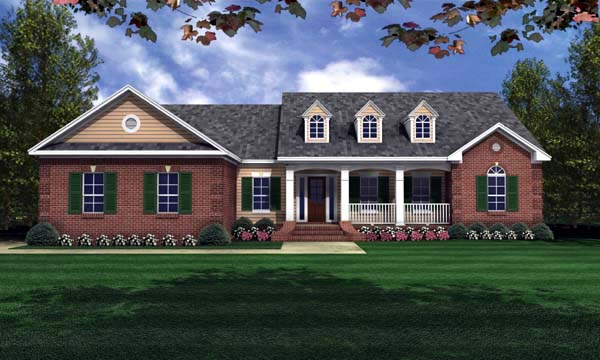 European, Ranch, Traditional House Plan 59066 with 3 Beds, 2 Baths, 2 Car Garage Front Elevation