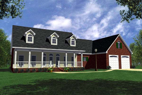 Country, Farmhouse, Ranch, Traditional House Plan 59067 with 3 Beds, 3 Baths, 2 Car Garage Front Elevation