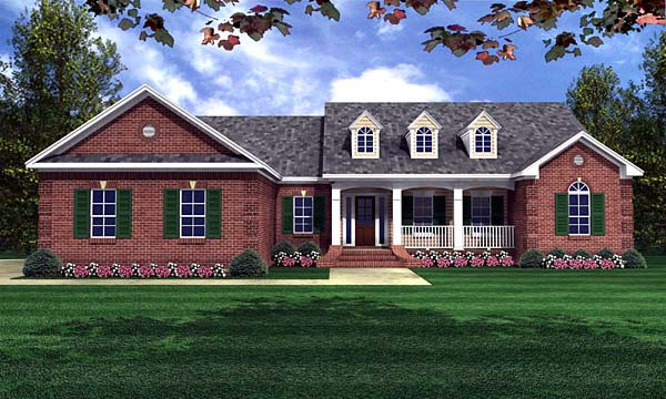 Ranch, Traditional House Plan 59070 with 4 Beds, 3 Baths, 2 Car Garage Front Elevation