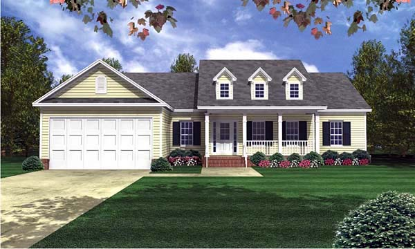 Country, Ranch, Southern, Traditional House Plan 59071 with 3 Beds, 3 Baths, 2 Car Garage Front Elevation