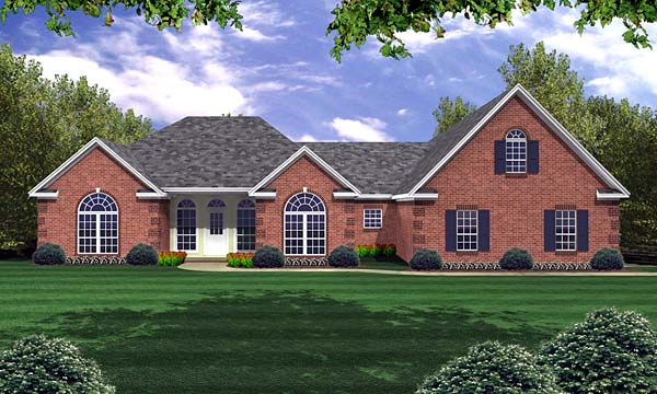 European, French Country, Ranch, Traditional House Plan 59074 with 3 Beds, 3 Baths, 3 Car Garage Front Elevation