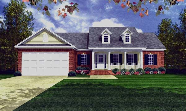 Country, Ranch, Southern, Traditional House Plan 59081 with 3 Beds, 2 Baths, 3 Car Garage Elevation