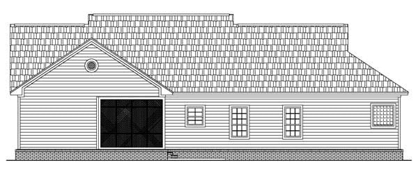 Country, Traditional House Plan 59085 with 3 Beds, 3 Baths, 2 Car Garage Rear Elevation