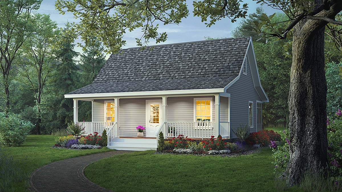 Cottage, Country, Farmhouse House Plan 59098 with 2 Beds, 1 Baths Elevation