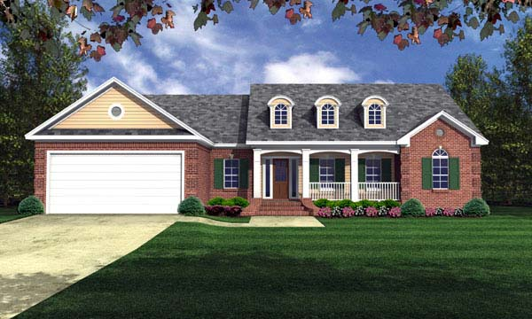 European, Ranch, Traditional House Plan 59105 with 3 Beds, 2 Baths, 2 Car Garage Elevation