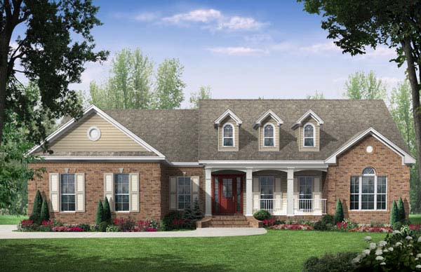 Country, European, Traditional House Plan 59106 with 3 Beds, 2.5 Baths, 2 Car Garage Front Elevation