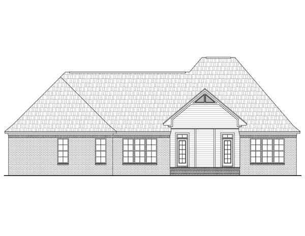 European, French Country, Traditional House Plan 59117 with 3 Beds, 3 Baths, 2 Car Garage Rear Elevation