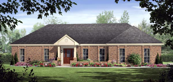 European, Ranch, Traditional House Plan 59126 with 3 Beds, 3 Baths, 2 Car Garage Elevation