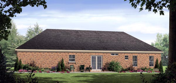 European, Ranch, Traditional House Plan 59126 with 3 Beds, 3 Baths, 2 Car Garage Rear Elevation