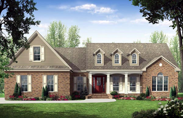 Country, Ranch, Traditional House Plan 59137 with 3 Beds, 3 Baths, 2 Car Garage Elevation