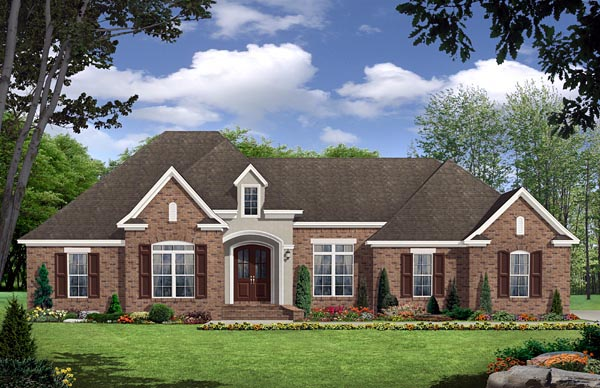 European, French Country, Traditional House Plan 59143 with 3 Beds, 3 Baths, 2 Car Garage Elevation