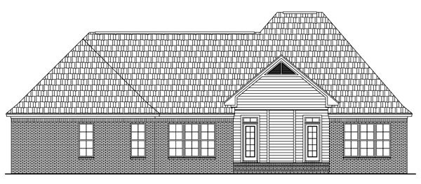 European, French Country, Traditional House Plan 59143 with 3 Beds, 3 Baths, 2 Car Garage Rear Elevation