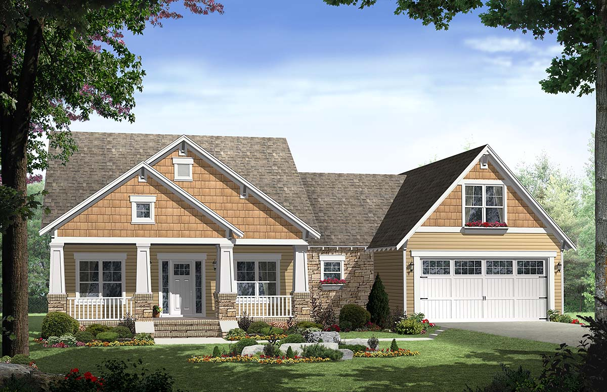 Bungalow, Craftsman House Plan 59148 with 3 Beds, 2 Baths, 2 Car Garage Elevation