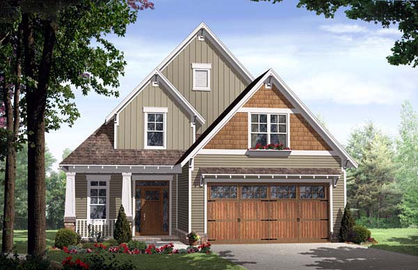 Bungalow, Cottage, Country, Craftsman House Plan 59154 with 3 Beds, 3 Baths, 2 Car Garage Front Elevation