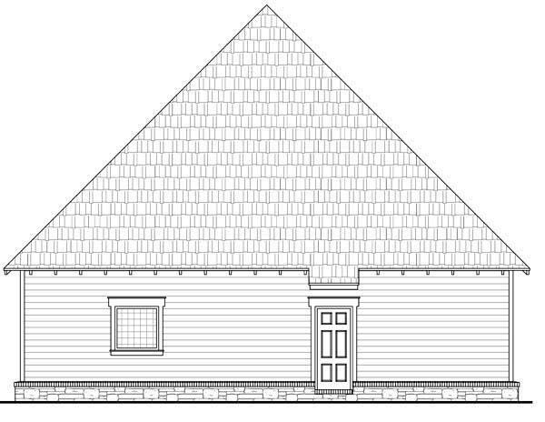 Bungalow, Cottage, Country, Craftsman House Plan 59154 with 3 Beds, 3 Baths, 2 Car Garage Rear Elevation