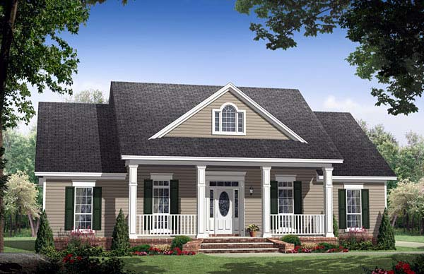 Country, Ranch, Traditional House Plan 59155 with 3 Beds, 3 Baths, 2 Car Garage Front Elevation