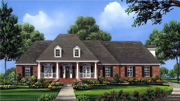 European, Southern House Plan 59161 with 4 Beds, 4 Baths, 3 Car Garage Elevation